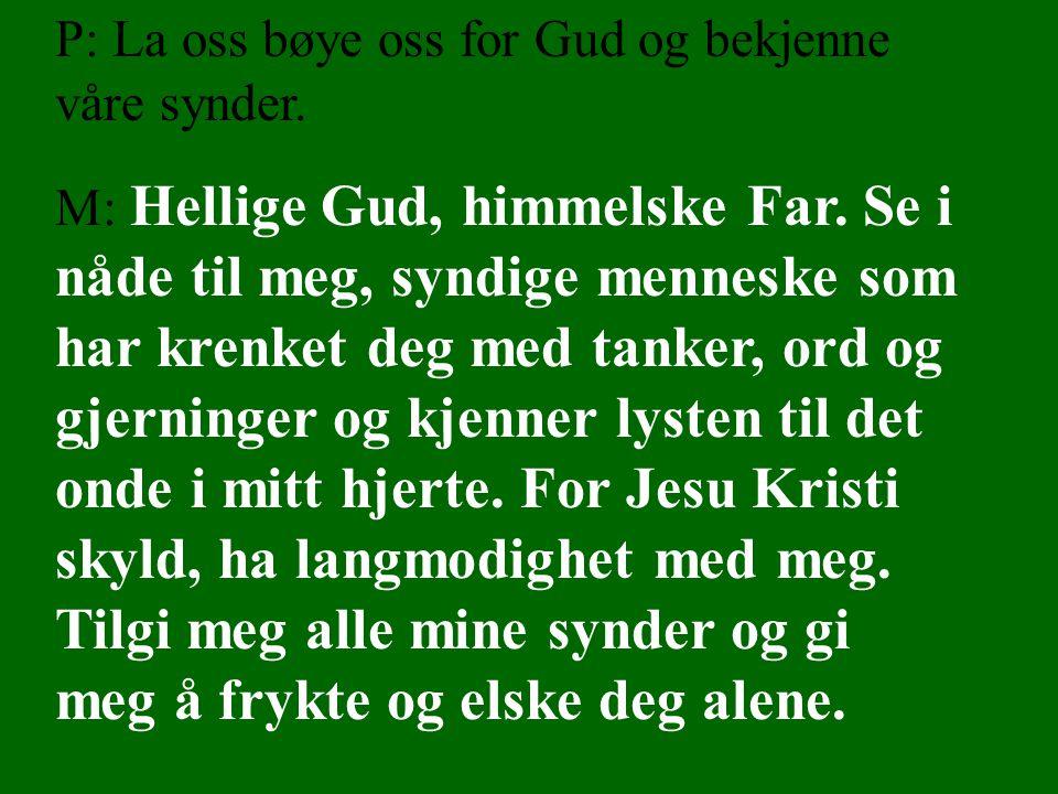 P: La oss bøye oss for Gud og bekjenne våre synder. M: Hellige Gud, himmelske Far. Se i nåde til meg, syndige menneske som har krenket deg med tanker,
