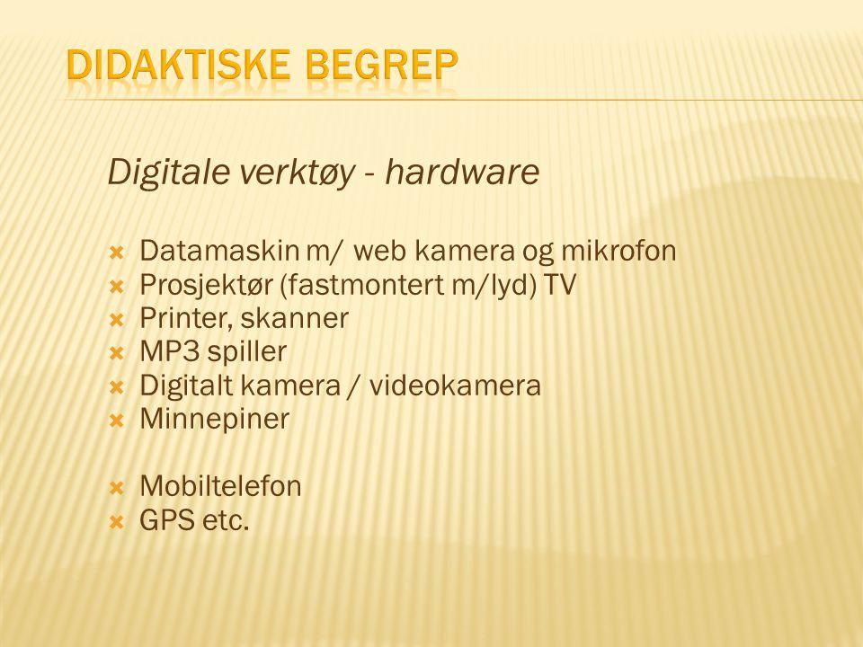 Digitale verktøy - hardware  Datamaskin m/ web kamera og mikrofon  Prosjektør (fastmontert m/lyd) TV  Printer, skanner  MP3 spiller  Digitalt kam