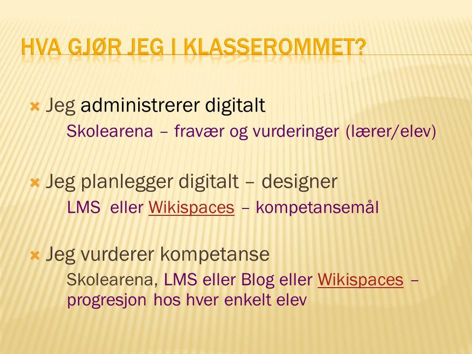  Jeg administrerer digitalt Skolearena – fravær og vurderinger (lærer/elev)  Jeg planlegger digitalt – designer LMS eller Wikispaces – kompetansemål