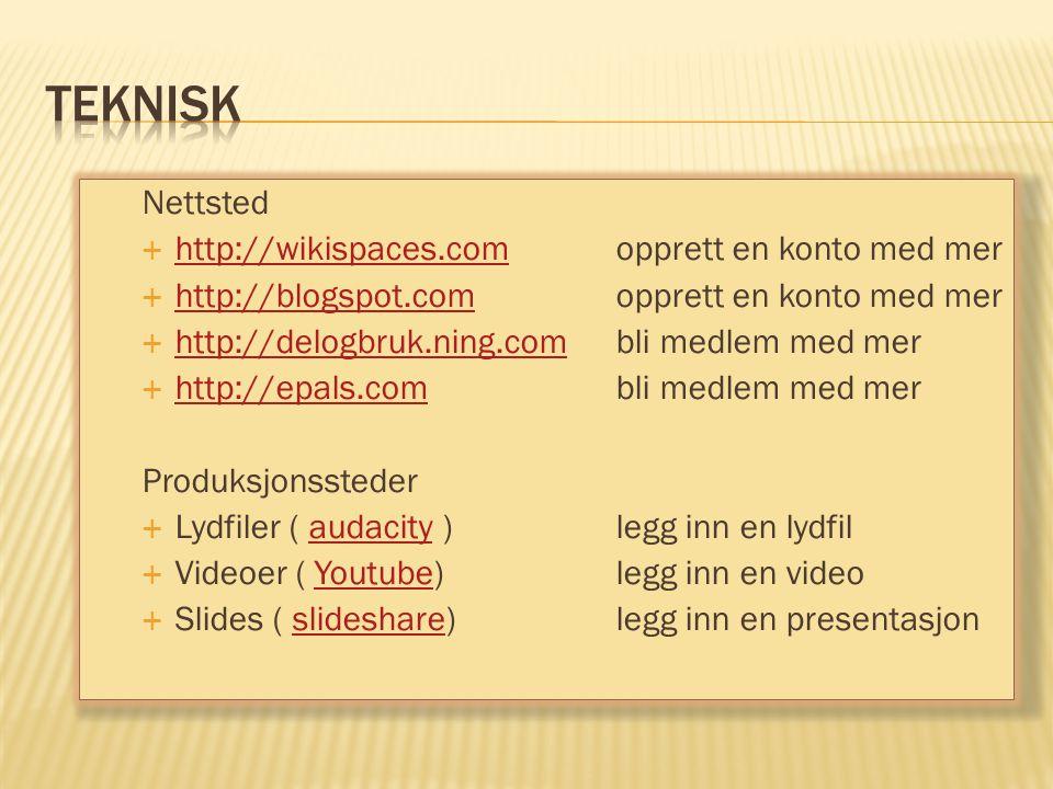 Nettsted  http://wikispaces.com opprett en konto med mer http://wikispaces.com  http://blogspot.comopprett en konto med mer http://blogspot.com  ht