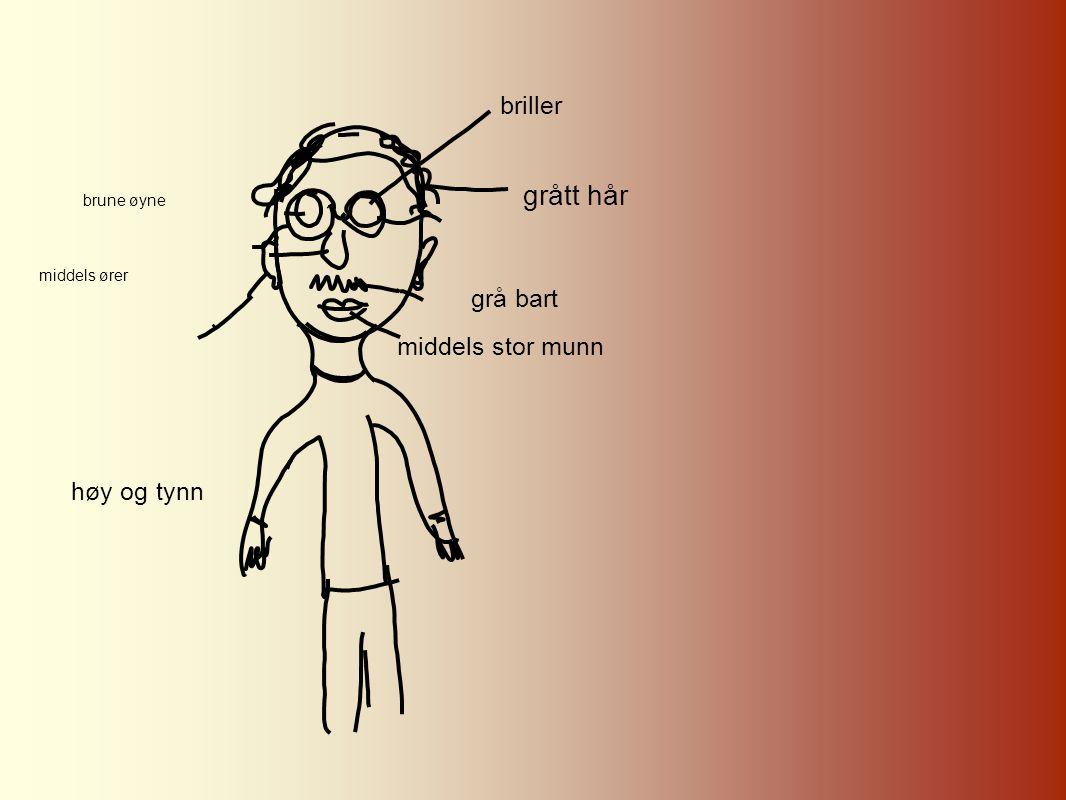 brune øyne middels ører briller grått hår grå bart middels stor munn høy og tynn