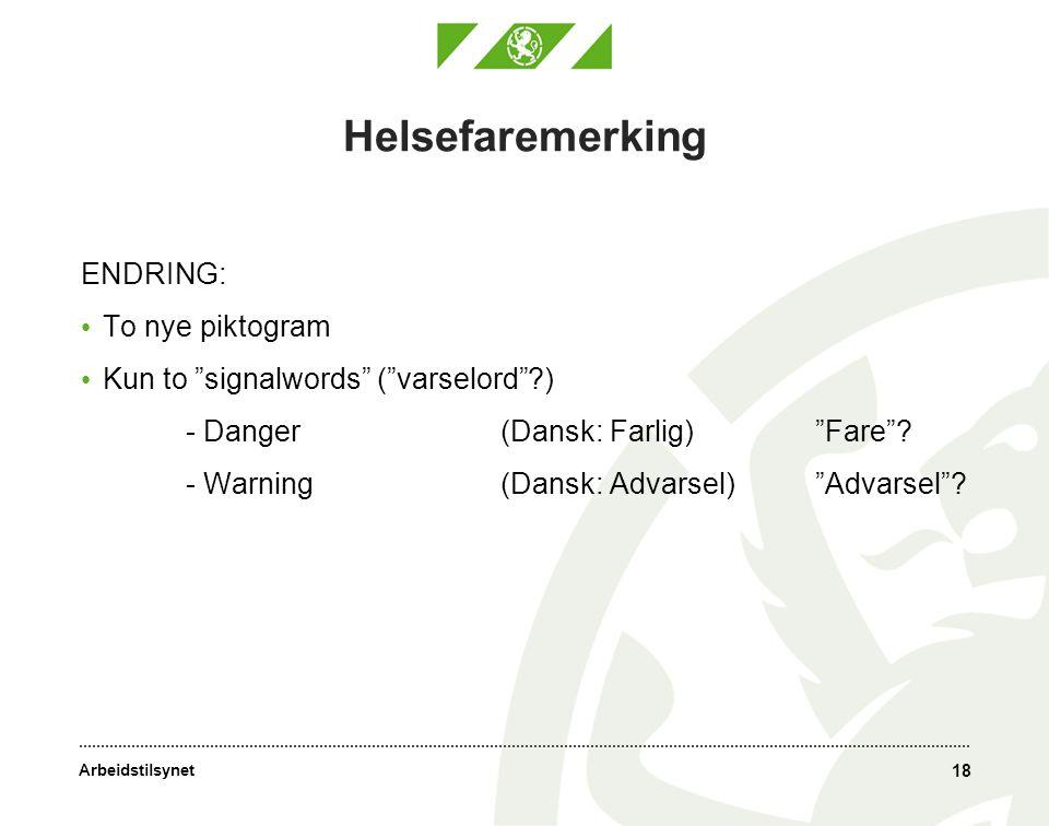Arbeidstilsynet 18 Helsefaremerking ENDRING: • To nye piktogram • Kun to signalwords ( varselord ?) - Danger (Dansk: Farlig) Fare .