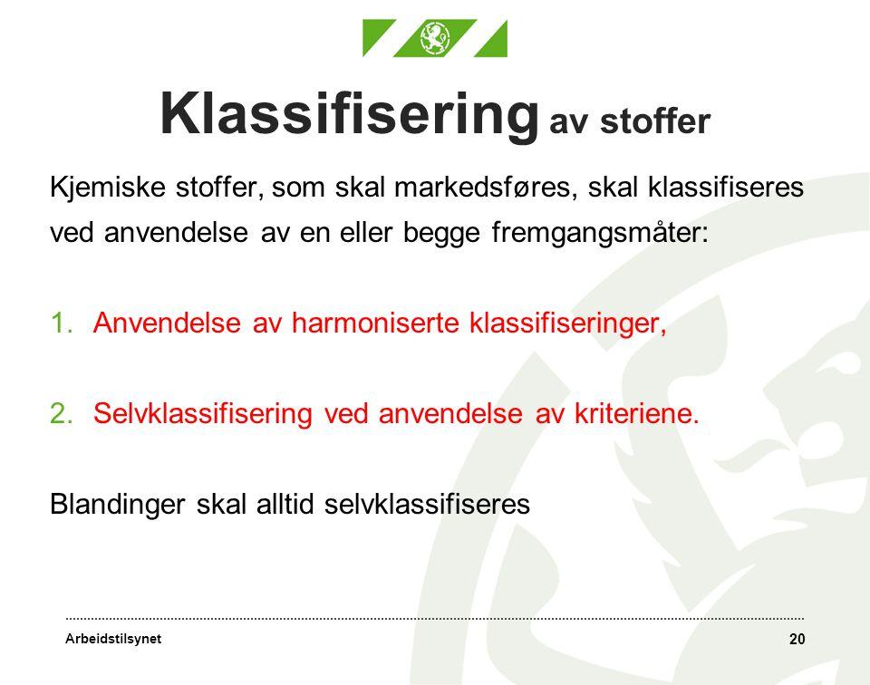 Arbeidstilsynet Klassifisering av stoffer Kjemiske stoffer, som skal markedsføres, skal klassifiseres ved anvendelse av en eller begge fremgangsmåter: 1.Anvendelse av harmoniserte klassifiseringer, 2.Selvklassifisering ved anvendelse av kriteriene.