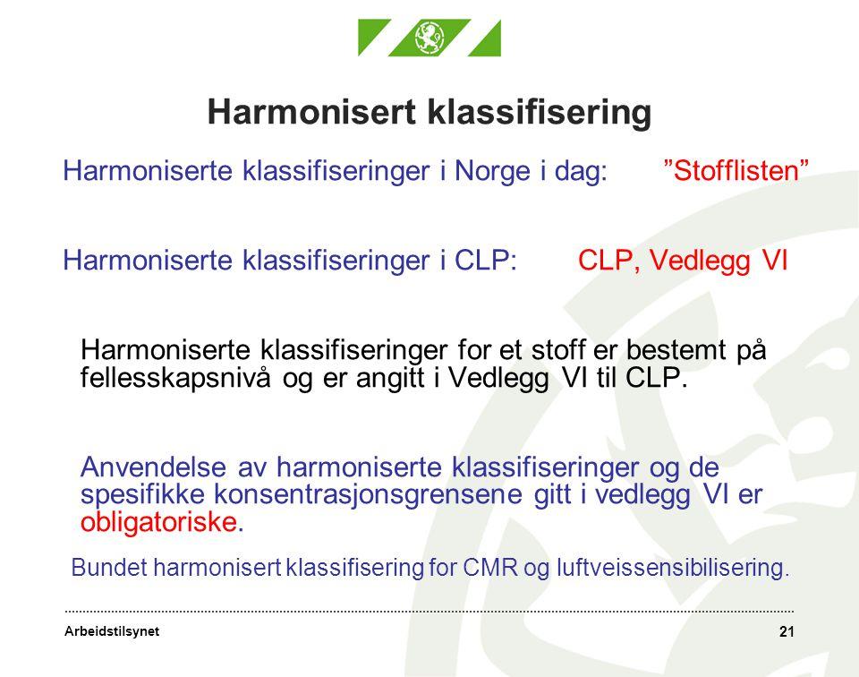 Arbeidstilsynet Harmonisert klassifisering Harmoniserte klassifiseringer i Norge i dag: Stofflisten Harmoniserte klassifiseringer i CLP: CLP, Vedlegg VI Harmoniserte klassifiseringer for et stoff er bestemt på fellesskapsnivå og er angitt i Vedlegg VI til CLP.