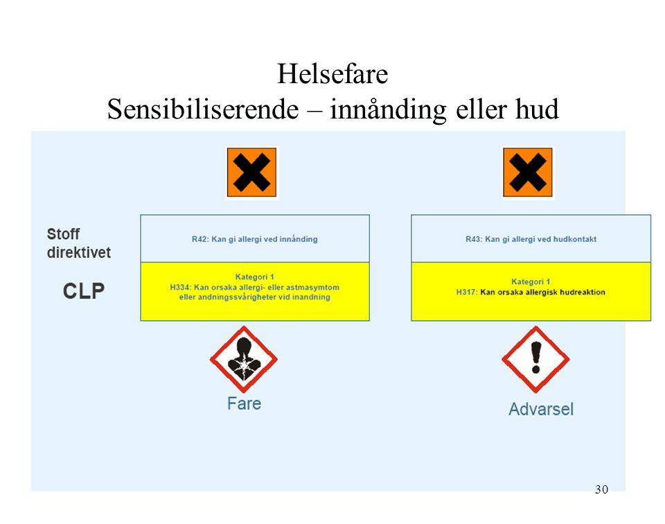 Helsefare Sensibiliserende – innånding eller hud 30