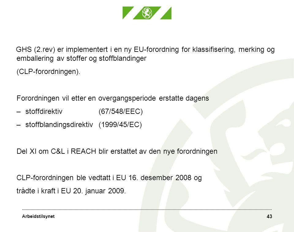 Arbeidstilsynet 43 GHS (2.rev) er implementert i en ny EU-forordning for klassifisering, merking og emballering av stoffer og stoffblandinger (CLP-forordningen).