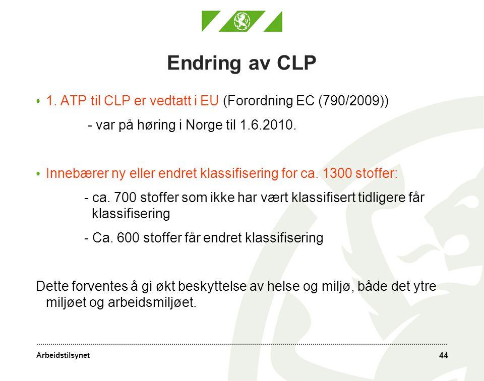 Arbeidstilsynet Endring av CLP • 1.
