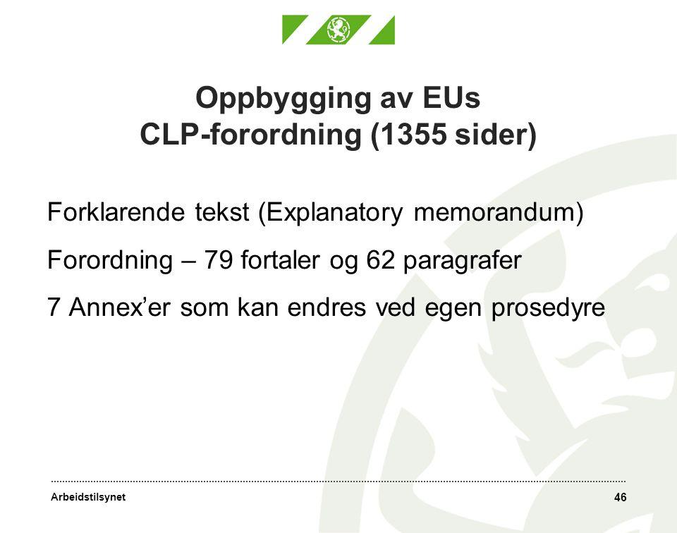 Arbeidstilsynet 46 Oppbygging av EUs CLP-forordning (1355 sider) Forklarende tekst (Explanatory memorandum) Forordning – 79 fortaler og 62 paragrafer 7 Annex'er som kan endres ved egen prosedyre