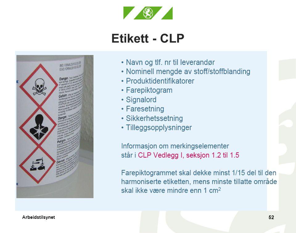 Arbeidstilsynet Etikett - CLP 52