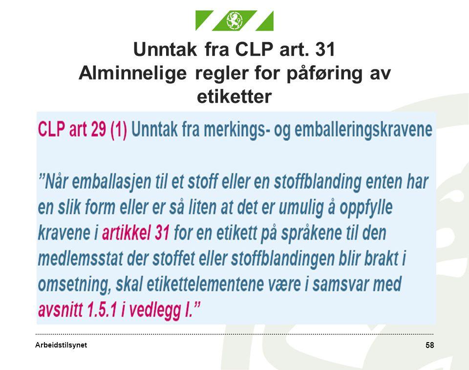 Arbeidstilsynet Unntak fra CLP art. 31 Alminnelige regler for påføring av etiketter 58