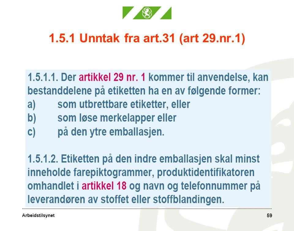 Arbeidstilsynet 1.5.1 Unntak fra art.31 (art 29.nr.1) 59