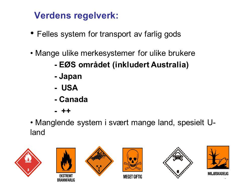 6 • Felles system for transport av farlig gods • Mange ulike merkesystemer for ulike brukere - EØS området (inkludert Australia) - Japan - USA - Canada - ++ • Manglende system i svært mange land, spesielt U- land Verdens regelverk: