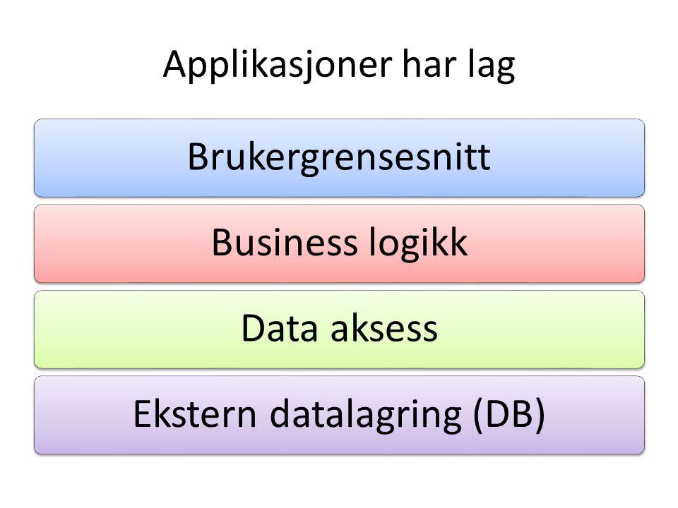 Brukergrensesnitt • MVC, MVVM, MVP • Omhandler alt som presenteres til brukeren – Komponenter – Validering (eller?) – Navigering – … • Del det opp i så små biter som mulig.