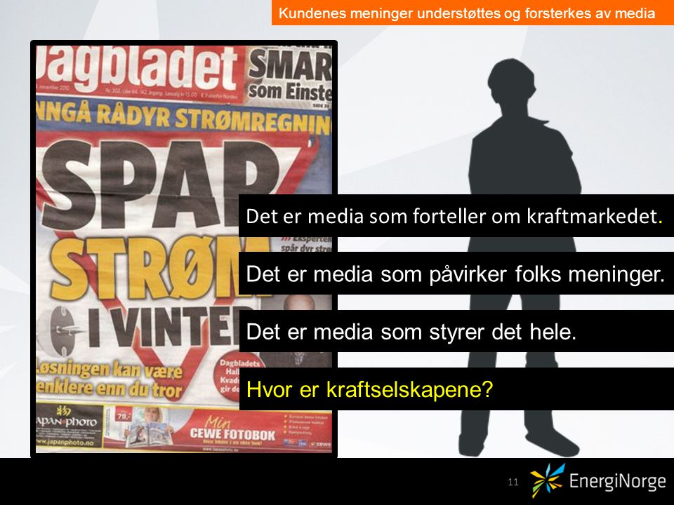 Kunden: Tell me what is my opinion.11 Det er media som forteller om kraftmarkedet.