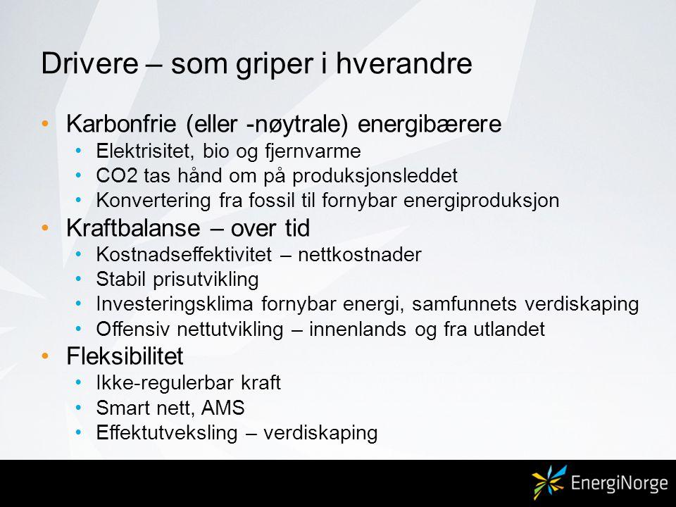 Drivere – som griper i hverandre •Karbonfrie (eller -nøytrale) energibærere •Elektrisitet, bio og fjernvarme •CO2 tas hånd om på produksjonsleddet •Ko