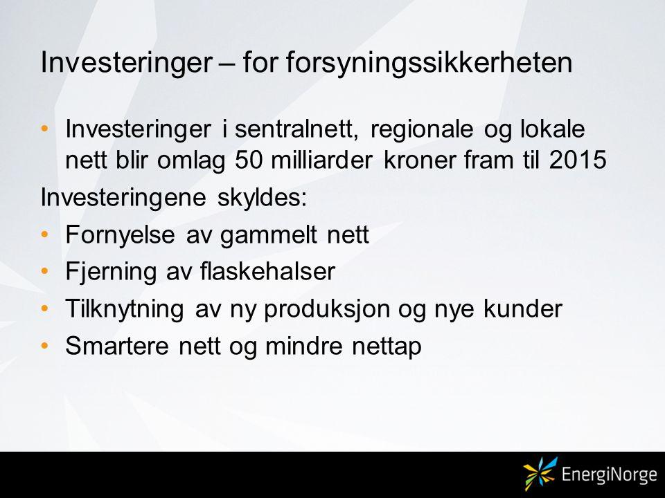 Investeringer – for forsyningssikkerheten •Investeringer i sentralnett, regionale og lokale nett blir omlag 50 milliarder kroner fram til 2015 Investe