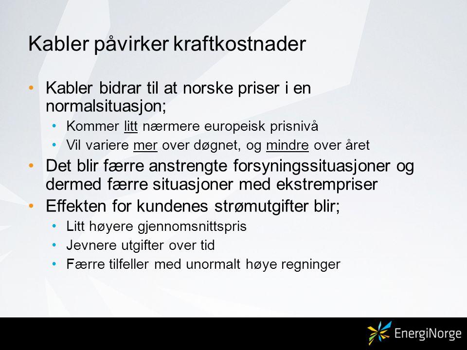 Kabler påvirker kraftkostnader •Kabler bidrar til at norske priser i en normalsituasjon; •Kommer litt nærmere europeisk prisnivå •Vil variere mer over