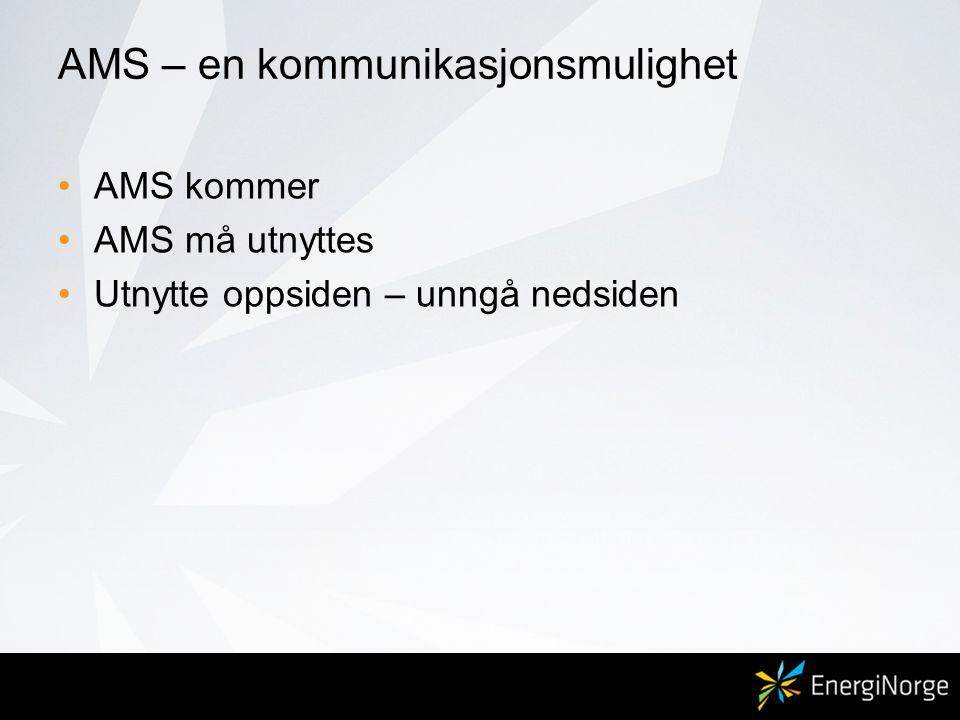 AMS – en kommunikasjonsmulighet •AMS kommer •AMS må utnyttes •Utnytte oppsiden – unngå nedsiden