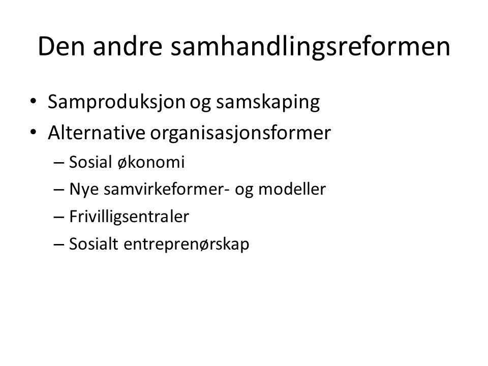 Den andre samhandlingsreformen • Samproduksjon og samskaping • Alternative organisasjonsformer – Sosial økonomi – Nye samvirkeformer- og modeller – Fr