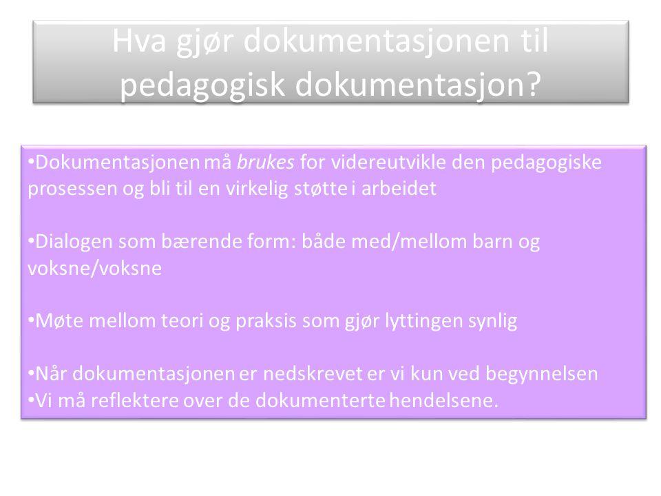 Hva gjør dokumentasjonen til pedagogisk dokumentasjon.
