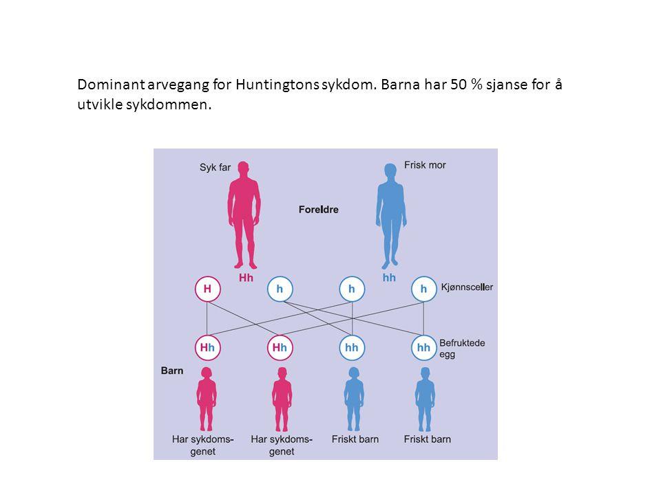 Dominant arvegang for Huntingtons sykdom. Barna har 50 % sjanse for å utvikle sykdommen.
