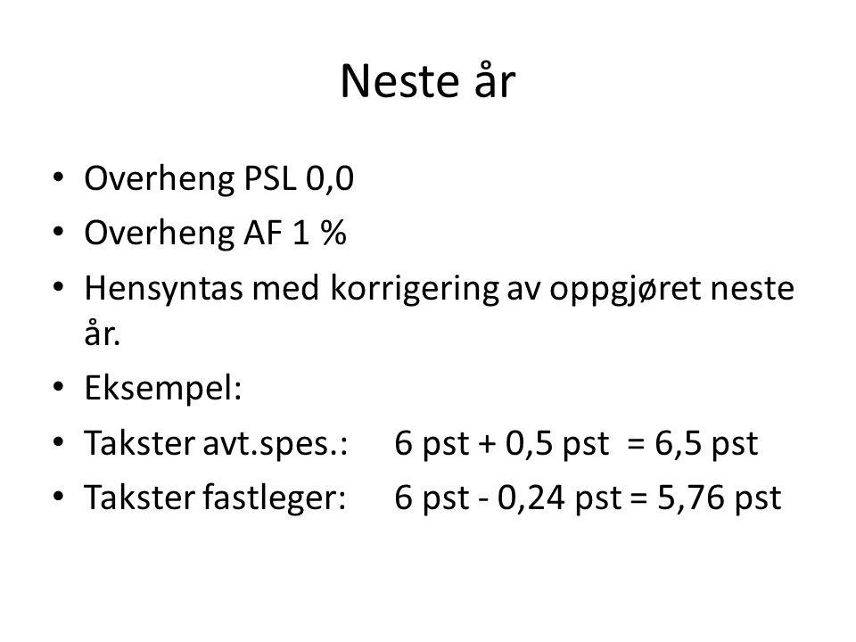 Neste år • Overheng PSL 0,0 • Overheng AF 1 % • Hensyntas med korrigering av oppgjøret neste år. • Eksempel: • Takster avt.spes.:6 pst + 0,5 pst = 6,5