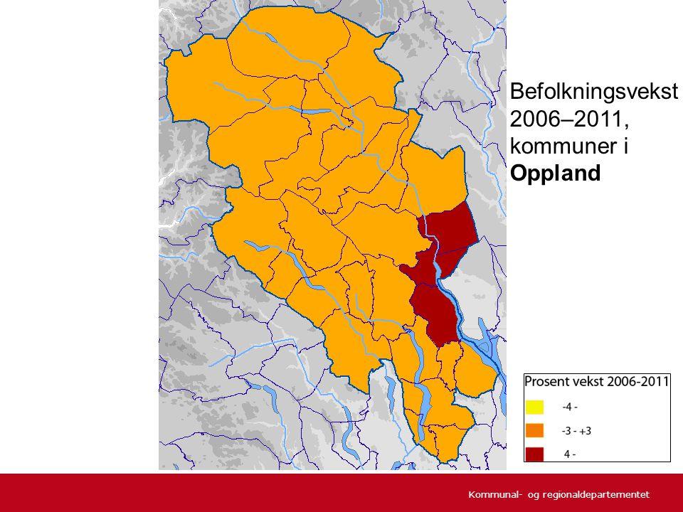 Kommunal- og regionaldepartementet Befolkningsvekst 2006–2011, kommuner i Oppland