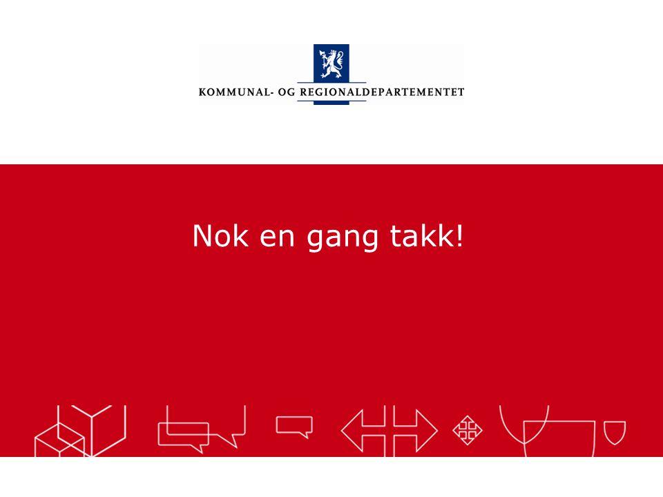 Kommunal- og regionaldepartementet Norsk mal: Sluttside Tips bildekreditering: Alle bilder brukt i presentasjonen må krediteres for eksempel slik: Sli