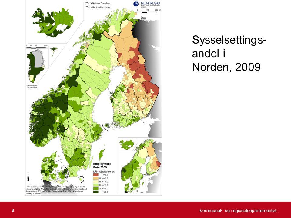 Kommunal- og regionaldepartementet Norsk mal: Tekst uten kulepunkter 6 Sysselsettings- andel i Norden, 2009