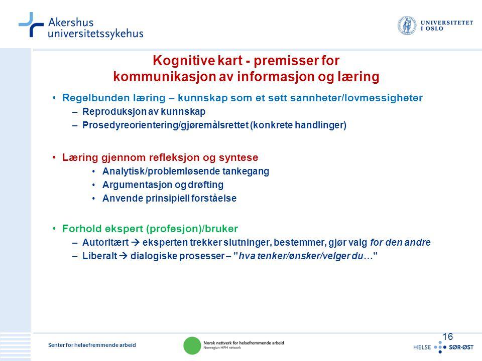 Senter for helsefremmende arbeid Kognitive kart - premisser for kommunikasjon av informasjon og læring •Regelbunden læring – kunnskap som et sett sann
