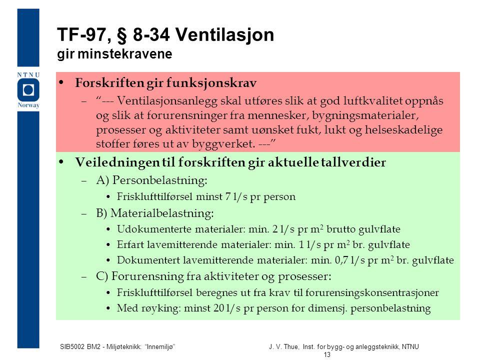 """SIB5002 BM2 - Miljøteknikk: """"Innemiljø""""J. V. Thue, Inst. for bygg- og anleggsteknikk, NTNU 13 • Forskriften gir funksjonskrav –""""--- Ventilasjonsanlegg"""