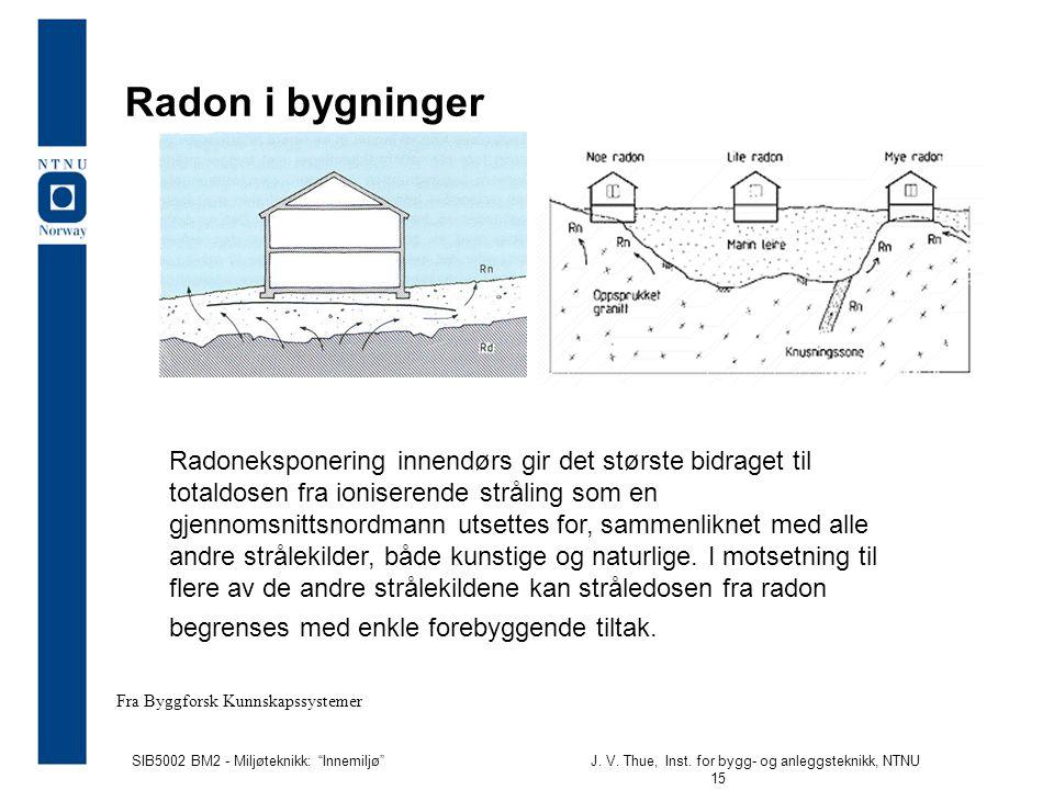 """SIB5002 BM2 - Miljøteknikk: """"Innemiljø""""J. V. Thue, Inst. for bygg- og anleggsteknikk, NTNU 15 Radon i bygninger Radoneksponering innendørs gir det stø"""