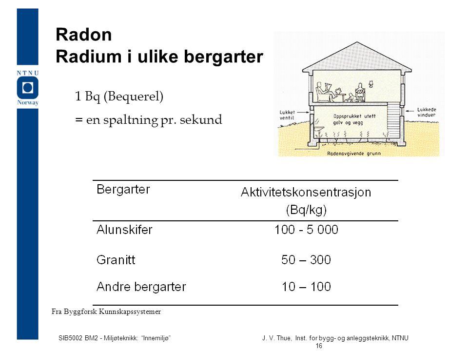 """SIB5002 BM2 - Miljøteknikk: """"Innemiljø""""J. V. Thue, Inst. for bygg- og anleggsteknikk, NTNU 16 Radon Radium i ulike bergarter Fra Byggforsk Kunnskapssy"""
