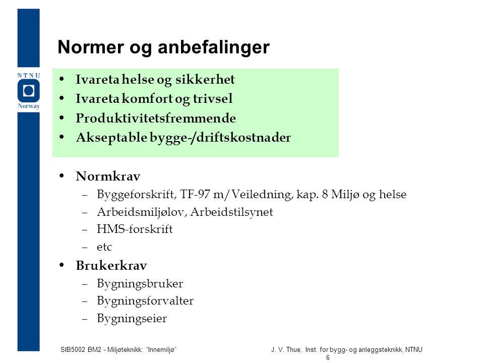 """SIB5002 BM2 - Miljøteknikk: """"Innemiljø""""J. V. Thue, Inst. for bygg- og anleggsteknikk, NTNU 6 Normer og anbefalinger • Ivareta helse og sikkerhet • Iva"""