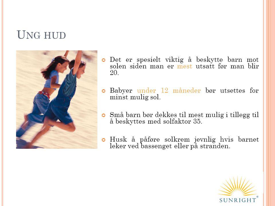 U NG HUD Det er spesielt viktig å beskytte barn mot solen siden man er mest utsatt før man blir 20. Babyer under 12 måneder bør utsettes for minst mul
