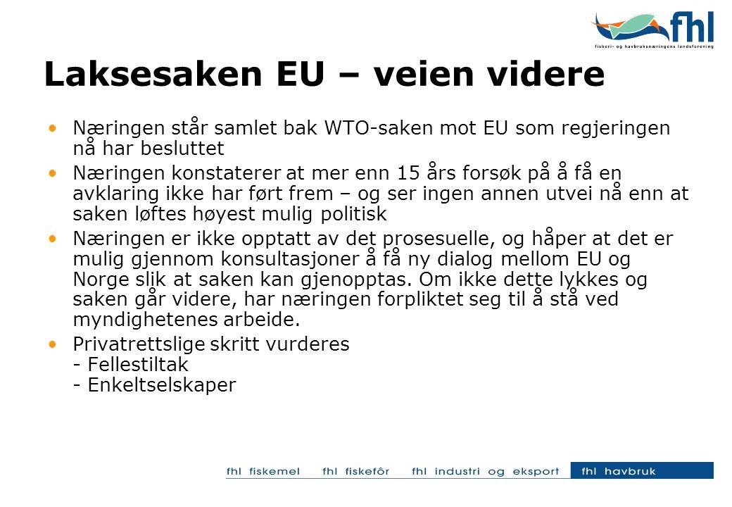 •Næringen står samlet bak WTO-saken mot EU som regjeringen nå har besluttet •Næringen konstaterer at mer enn 15 års forsøk på å få en avklaring ikke har ført frem – og ser ingen annen utvei nå enn at saken løftes høyest mulig politisk •Næringen er ikke opptatt av det prosesuelle, og håper at det er mulig gjennom konsultasjoner å få ny dialog mellom EU og Norge slik at saken kan gjenopptas.