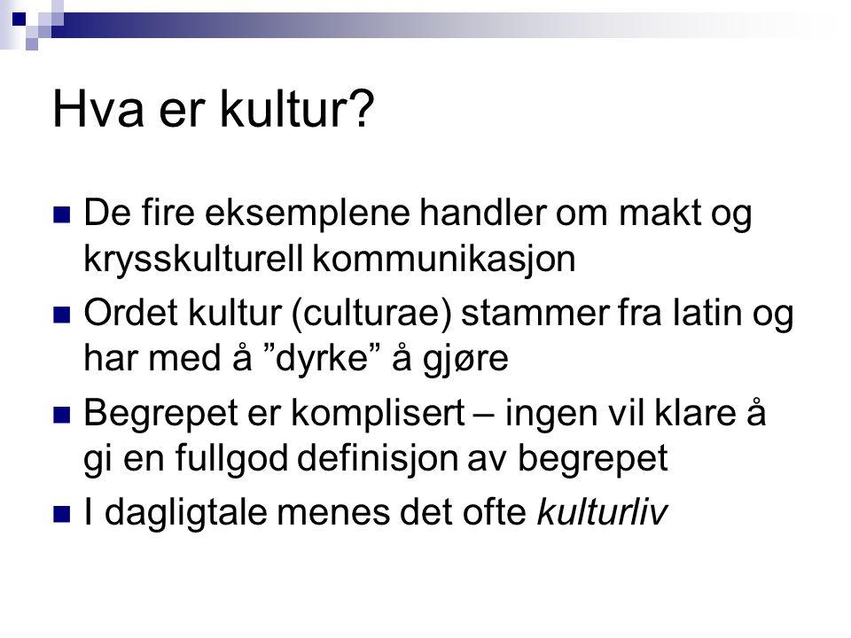 """Hva er kultur?  De fire eksemplene handler om makt og krysskulturell kommunikasjon  Ordet kultur (culturae) stammer fra latin og har med å """"dyrke"""" å"""