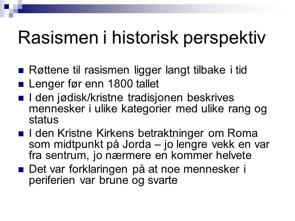 Rasismen i historisk perspektiv  Røttene til rasismen ligger langt tilbake i tid  Lenger før enn 1800 tallet  I den jødisk/kristne tradisjonen besk