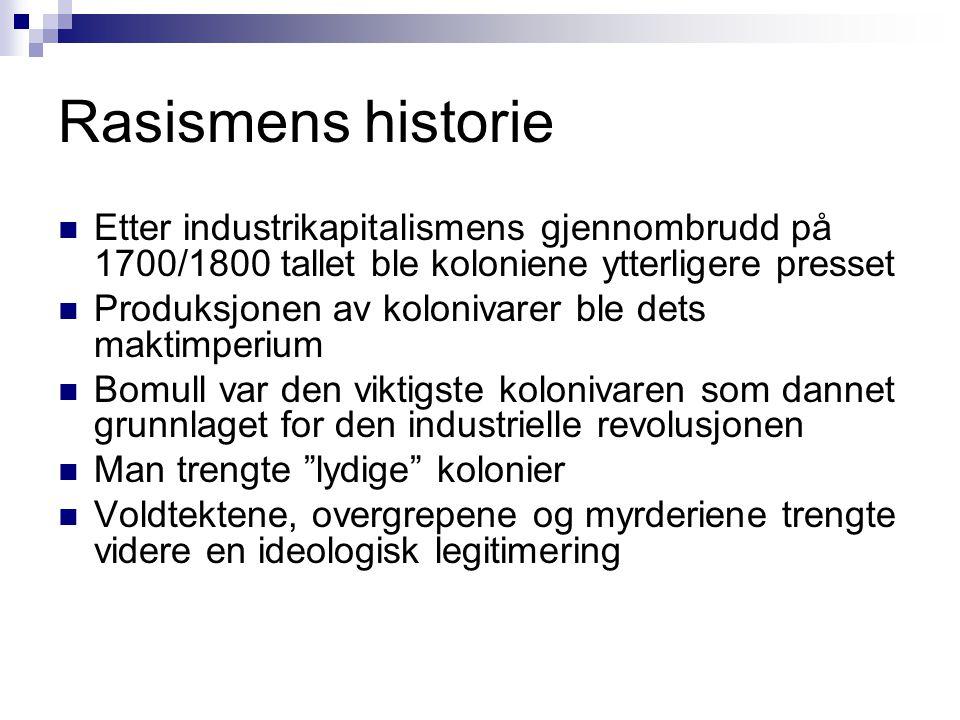 Rasismens historie  Etter industrikapitalismens gjennombrudd på 1700/1800 tallet ble koloniene ytterligere presset  Produksjonen av kolonivarer ble