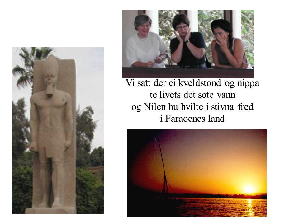 Vi satt der ei kveldstønd og nippa te livets det søte vann og Nilen hu hvilte i stivna fred i Faraoenes land