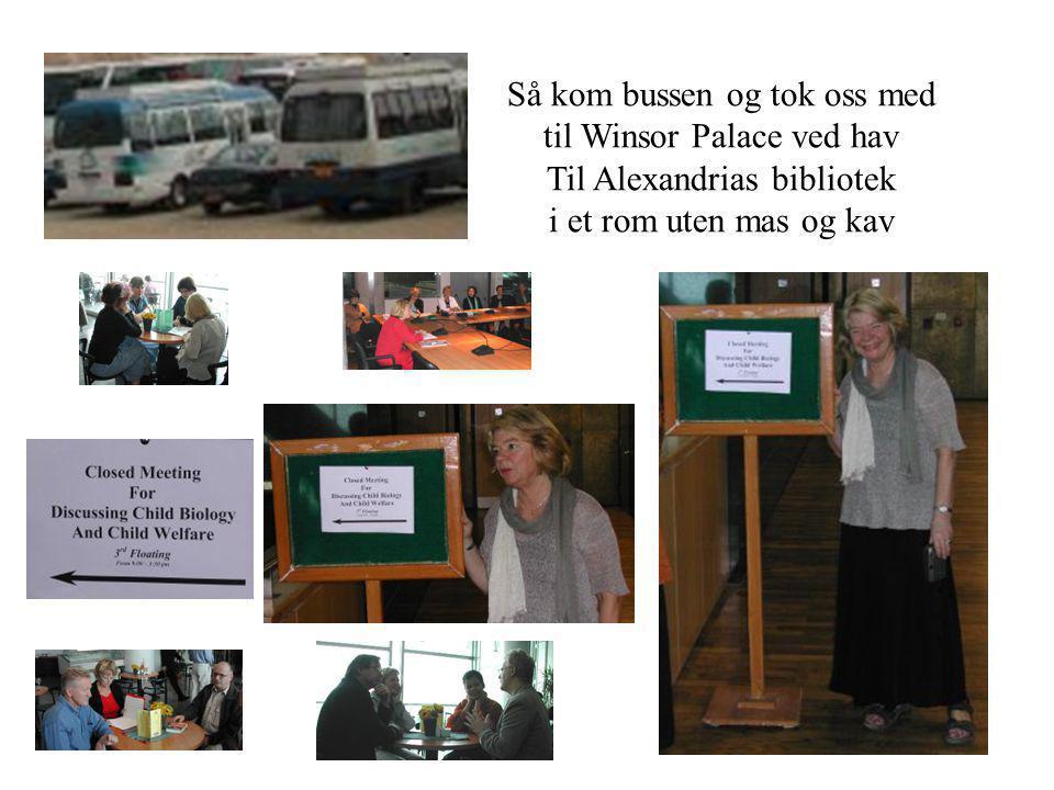 Så kom bussen og tok oss med til Winsor Palace ved hav Til Alexandrias bibliotek i et rom uten mas og kav