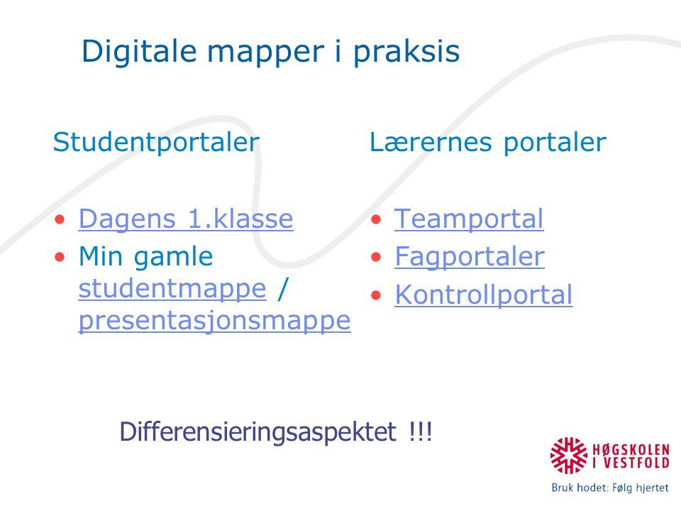 Digitale mapper i praksis Lærernes portaler •TeamportalTeamportal •FagportalerFagportaler •KontrollportalKontrollportal Studentportaler •Dagens 1.klas