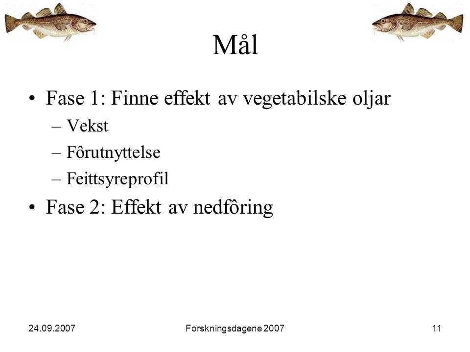 24.09.2007Forskningsdagene 200711 •Fase 1: Finne effekt av vegetabilske oljar –Vekst –Fôrutnyttelse –Feittsyreprofil •Fase 2: Effekt av nedfôring Mål