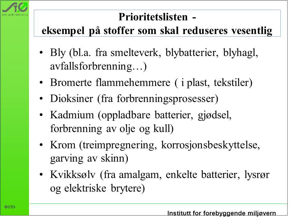 Institutt for forebyggende miljøvern  STØ Prioritetslisten - eksempel på stoffer som skal reduseres vesentlig •Bly (bl.a.