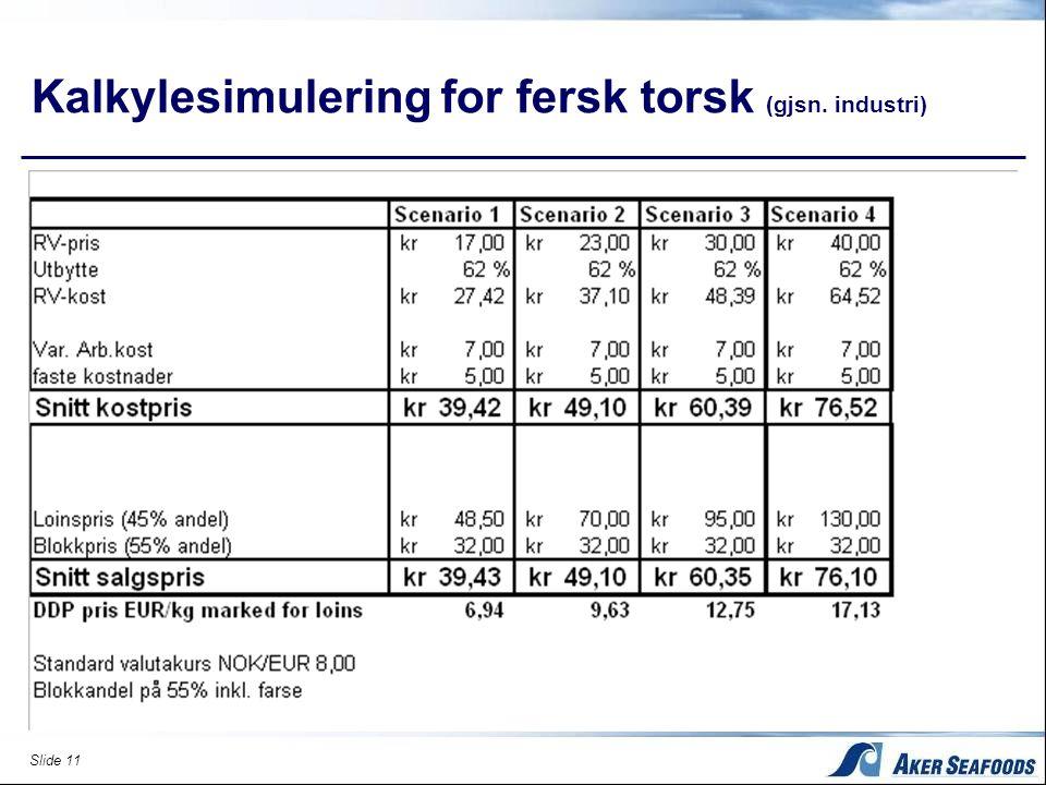Slide 11 Kalkylesimulering for fersk torsk (gjsn. industri)