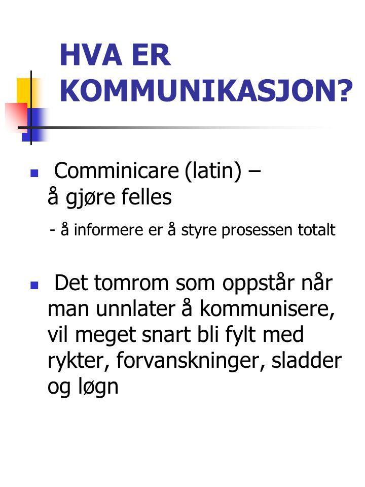 HVA ER KOMMUNIKASJON?  Comminicare (latin) – å gjøre felles - å informere er å styre prosessen totalt  Det tomrom som oppstår når man unnlater å kom