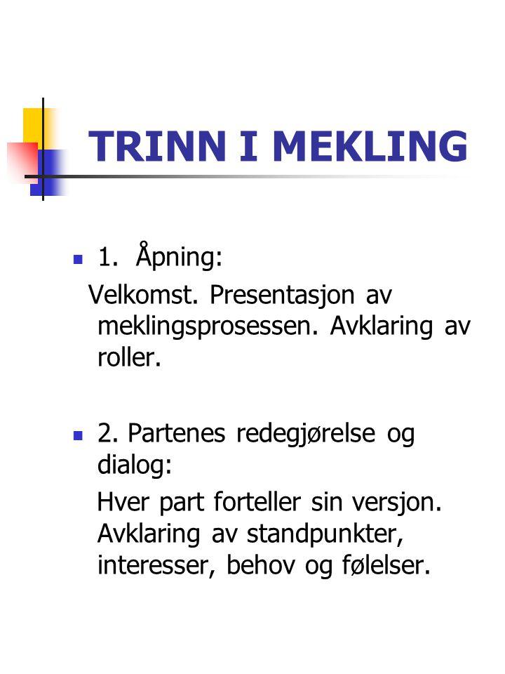 TRINN I MEKLING  1. Åpning: Velkomst. Presentasjon av meklingsprosessen. Avklaring av roller.  2. Partenes redegjørelse og dialog: Hver part fortell