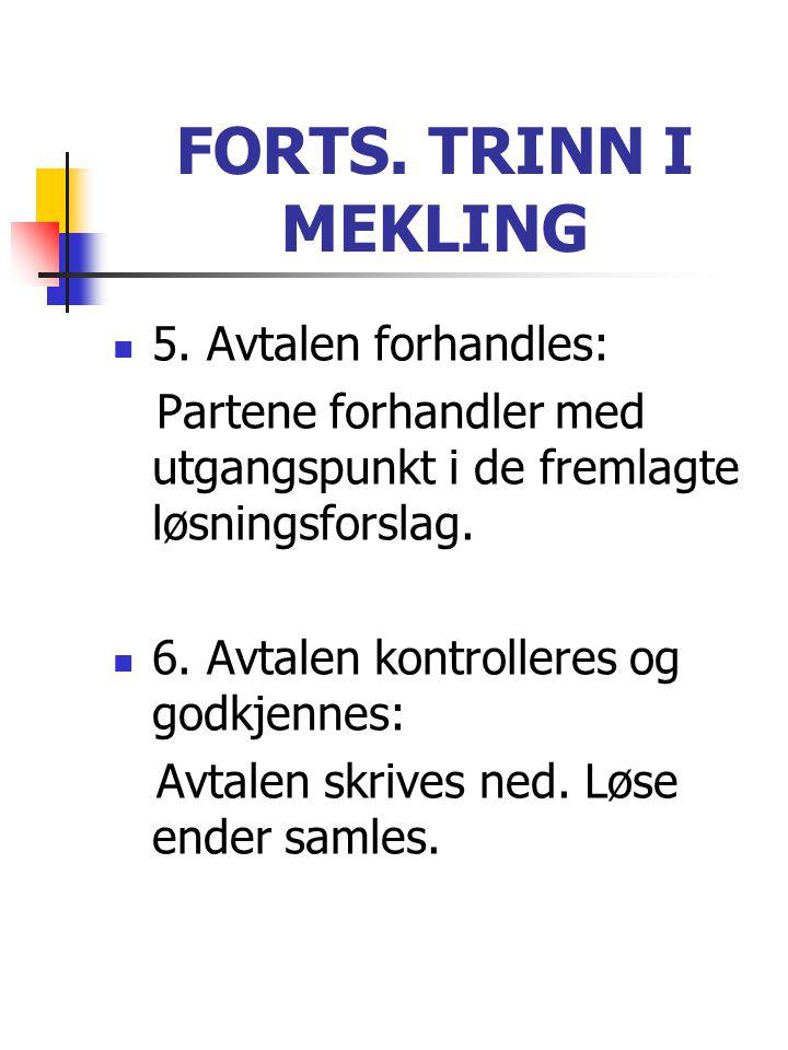 FORTS. TRINN I MEKLING  5. Avtalen forhandles: Partene forhandler med utgangspunkt i de fremlagte løsningsforslag.  6. Avtalen kontrolleres og godkj