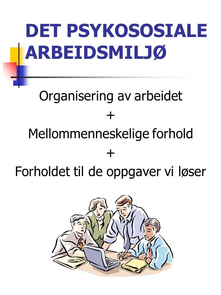 DET PSYKOSOSIALE ARBEIDSMILJØ Organisering av arbeidet + Mellommenneskelige forhold + Forholdet til de oppgaver vi løser