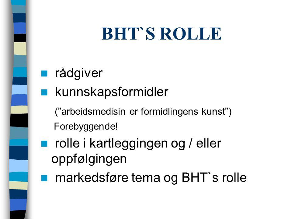 """BHT`S ROLLE  rådgiver  kunnskapsformidler (""""arbeidsmedisin er formidlingens kunst"""") Forebyggende!  rolle i kartleggingen og / eller oppfølgingen """